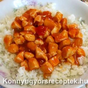 Csirkemell csípős szecsuáni mártásban rizzsel recept