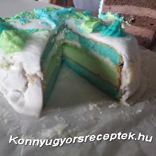 Szivárvány torta fehér csokis krémmel recept