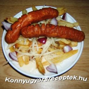 Sült krumpli sült virslivel recept