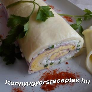 Sonkás sajttekercs recept